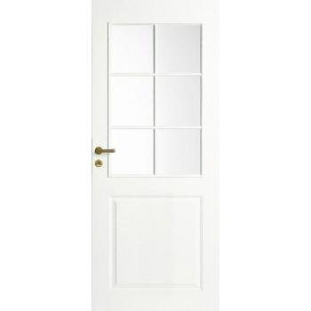 Дверь межкомнатная белая 3-х филенчатая под 6 стекол N2