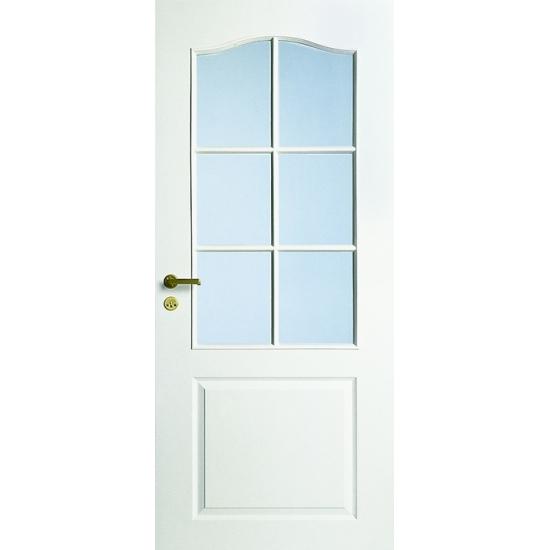 Дверь межкомнатная белая с арочной филенкой под 6 стекол N22