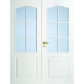 Дверь межкомнатная белая с арочной филенкой двупольная под 6+6 стекол N22P