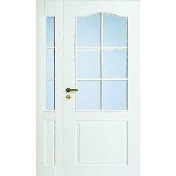 Дверь межкомнатная белая с арочной филенкой полуторная под 6+3 стекла N22+2L
