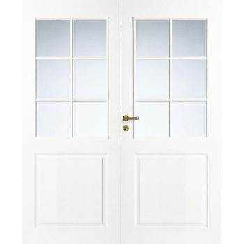 Дверь межкомнатная белая 3-х филенчатая двупольная под 6+6 стекол N2P
