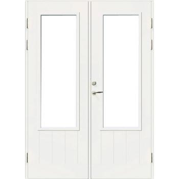 Входная террасная дверь Jeld-Wen PO1894 W16 с прозрачным стеклом ,фрезерованной внешней стороной, двухстворчатая