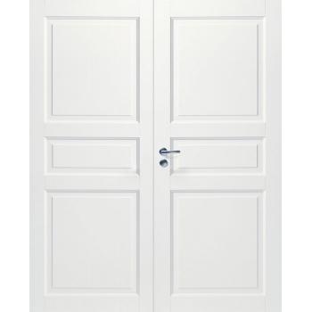 Дверь белая массивная 3-х филенчатая глухая двупольная N101P