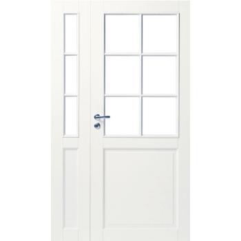 Дверь белая массивная под 6+3 стекла полуторная N102+102L