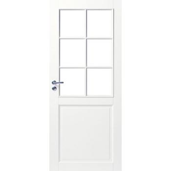 Дверь белая массивная под 6 стекол N102