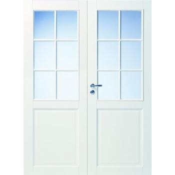 Дверь белая массивная под 6+6 стекол двупольная N102P