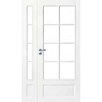 Дверь белая массивная под 8+4 стекла полуторная N104+104L