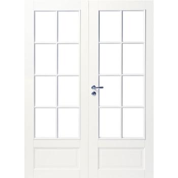 Дверь белая массивная под 8+8 стекол двупольная N104P
