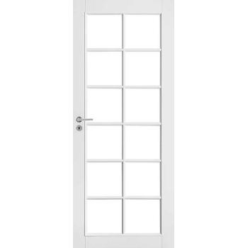 Дверь белая массивная под 12 стекол N105