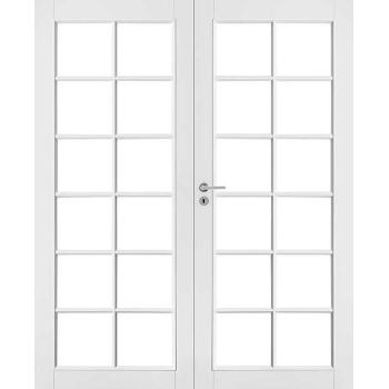 Дверь белая массивная под 12+12 стекол двупольная N105P