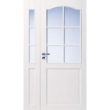 Дверь белая массивная с арочной филенкой под 6+3 стекол N111+102L