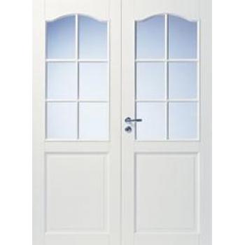 Дверь белая массивная с арочной филенкой под 6+6 стекол N111P