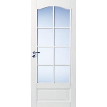 Дверь белая массивная с арочной филенкой под 8 стекол N114