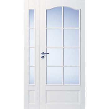Дверь белая массивная с арочной филенкой под 8+4 стекла полуторная N114_104L