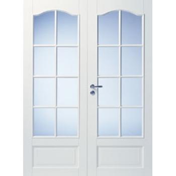 Дверь белая массивная с арочной филенкой под 8+8 стекол двупольная N114P
