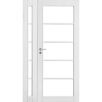 Дверь белая массивная под 5+5 стекла полуторная N129+129L