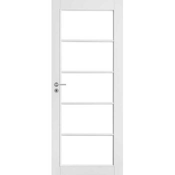 Дверь белая массивная под 5 стекол N129