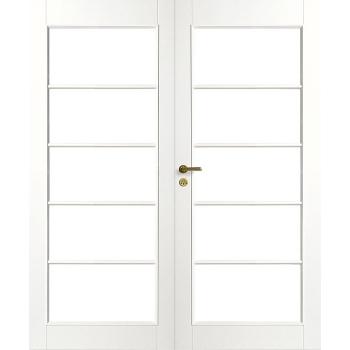 Дверь белая массивная под 5+5 стекол двупольная N129P