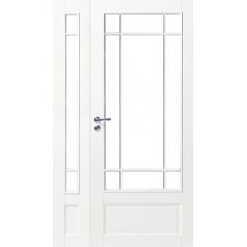 Дверь белая массивная под 9+3 стекла полуторная N130+130L