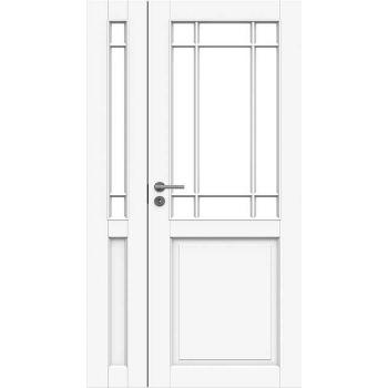 Дверь белая массивная под 9+3 стекла полуторная N131+131L