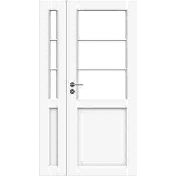 Дверь белая массивная под 3+3 стекла полуторная N132+132L