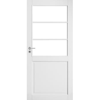 Дверь белая массивная под 3 стекла N132