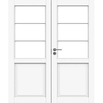 Дверь белая массивная под 3+3 стекол двупольная N132P