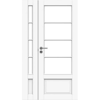 Дверь белая массивная под 4+4 стекла полуторная N133+133L