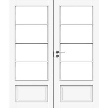 Дверь белая массивная под 4+4 стекол двупольная N133P