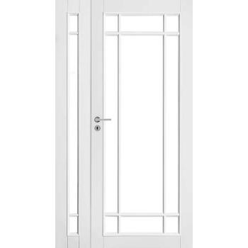 Дверь белая массивная под 9+3 стекла полуторная N134+134L