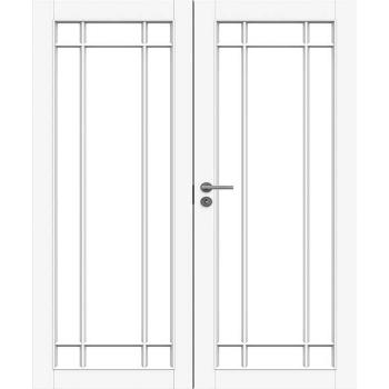 Дверь белая массивная под 5+5 стекол двупольная N134P