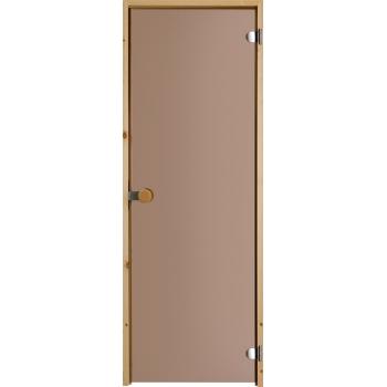 Дверь для сауны с круглой ручкой бронзовая N81