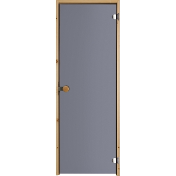 Дверь для сауны с круглой ручкой дымчато-серая N83