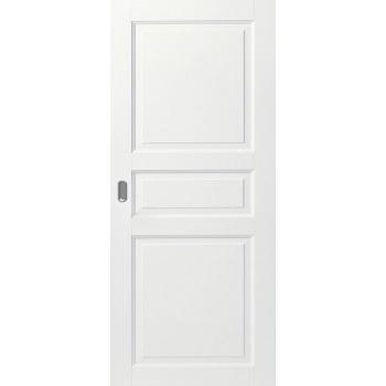 Дверь белая массивная трехфиленчатая глухая откатная КОМПЛЕКТ для монтажа на стену