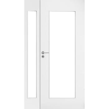 Дверь белая гладкая полуторная с прозрачным стеклом
