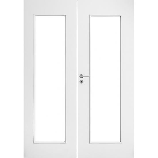 Дверь белая гладкая двупольная c прозрачным стеклом