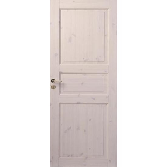 Трехфиленчатая сосновая дверь под белым лаком глухая однопольная N51