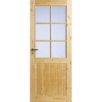 Филенчатая сосновая дверь под 6 стекол однопольная N52