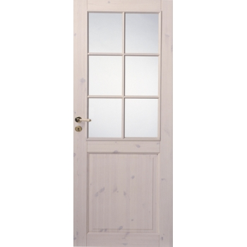 Трехфиленчатая сосновая дверь под белым лаком под 6 стекол однопольная N52