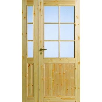 Дверь из массива сосны под 6+3 стекла полуторная N52+52L