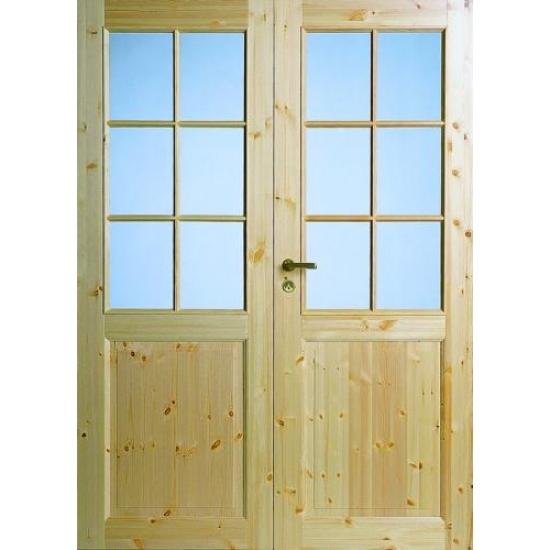 Филенчатая сосновая дверь под 6+6 стекол двухстворчатая N52P