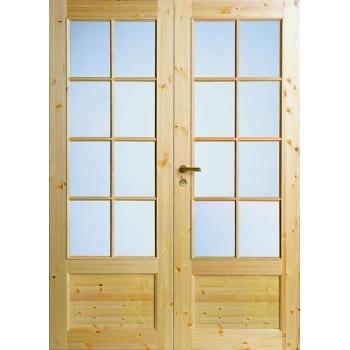 Дверь из массива сосны под 8+8 стекол двухстворчатая N55P