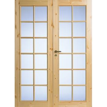 Дверь из массива сосны под 12+12 стекол двухстворчатая N58P