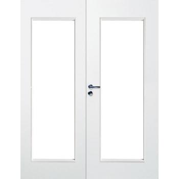 Дверь массивная гладкая двупольная Stable 410P с прозрачным стеклом