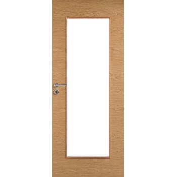 Дверь массивная гладкая Stable 410 шпонированная с прозрачным стеклом