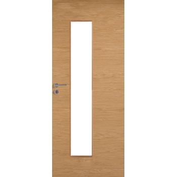 Дверь массивная гладкая Stable 420 шпонированная с прозрачным стеклом