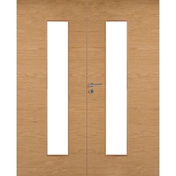 Дверь массивная гладкая двупольная Stable 420P шпонированная с прозрачным стеклом