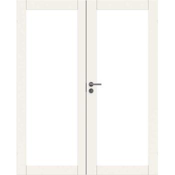 Дверь массивная двупольная Unique 504 с прозрачным стеклом