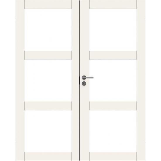 Дверь массивная двупольная Unique 507 с 3-мя прозрачными стеклами