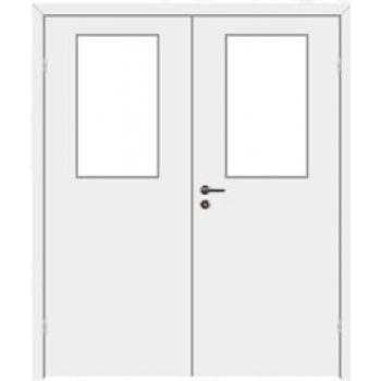 Дверь противопожарная звукоизоляционная EI30/30dB двупольная со стеклом 25%